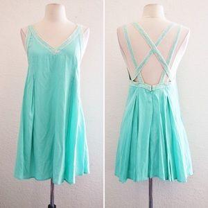 Very J Mint Criss Cross Crochet back dress